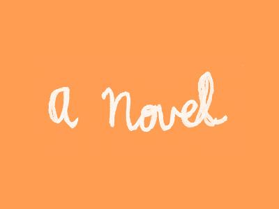 A Novel typography handwritten cursive book cover