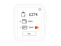 Apple Watch - Wallet App, Payment Options Mockup