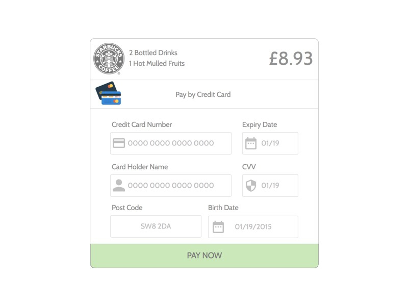 Pay by Credit Card Mockup wireframe mockup credit card payment