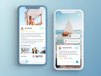 Event Discovery App surfing school telaviv comments surf sketch events design app mobile app design mobile app mobile ui mobile iphone flat ios clean ux ui event app