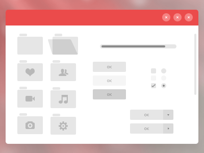 UI Elements folders buttons kained red windows window fengenzus elements ui