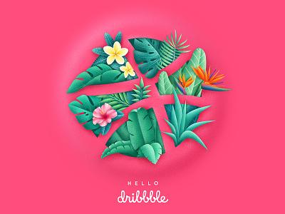 Tropical Dribbble leaves dirbbble design graphic illustrator debut flowers tropical logo illustration