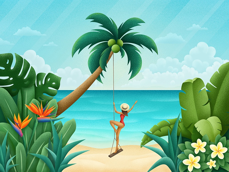 Paradise beach leaves graphic nature sea tropical girl flowers flora beach tropic illustration paradise