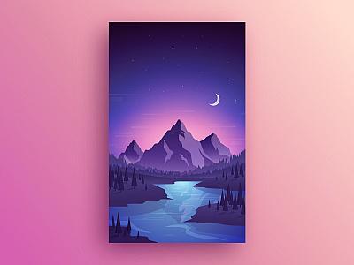 Landscape lake view star moon gradient nigh landscape mountains illustration nature
