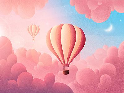 Sunset in the clouds sun glare sun rays moon pink clouds sky pink air balloon balloon sunset clouds