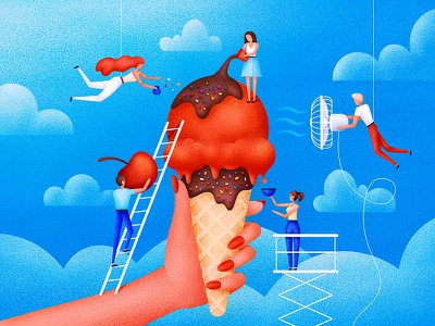 Icecream chocolate food grain illustrator sweet summer clouds people character illustration ice cream icecream