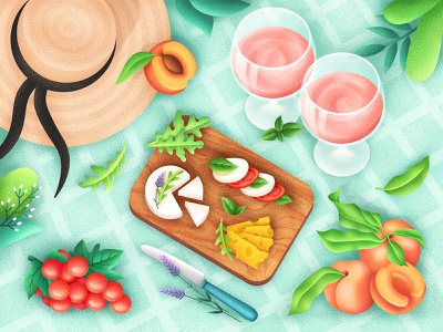 Picnic with Love hat leaves cheese fruits grape peach grain yummy food wine picnic graphic illustrator illustration