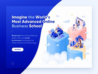 Business school illustration leaves tropic coach web man people clouds illustrator design illustration
