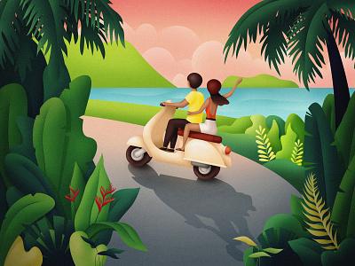 Road trip motorbike scooter roach bike road trip palm tree sunset landscape mountain sea tropic plants people nature flora design graphic tropical illustrator illustration