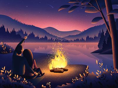 Night Time forest bonfire sunset night grain love lake starry sky landscape fire mountain people nature illustrator graphic illustration