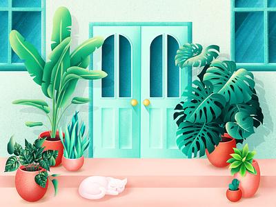 Home Plants tropic house procreate door home cat plants flowers leaves grain flora tropical nature illustrator illustration