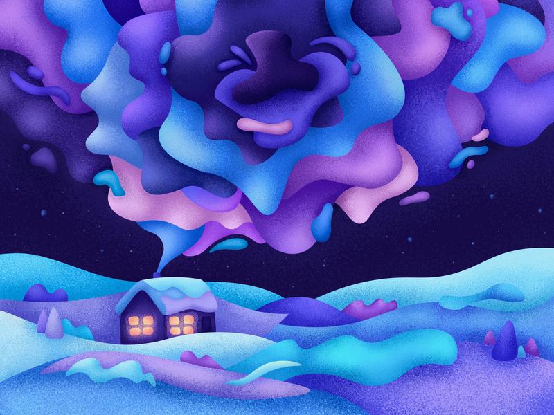 Christmas night holiday house stars home snow winter abstact night christmas night christmas grain illustrator illustration