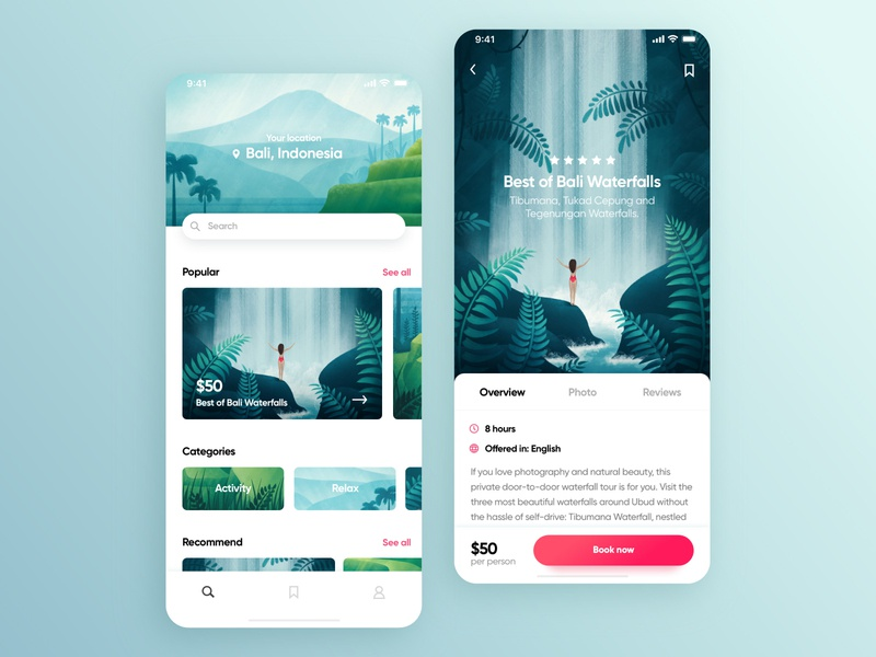 Tour Agency App waterfall tour art travel agency bali procreate product ios travel ux app ui design plants flora tropical nature illustration
