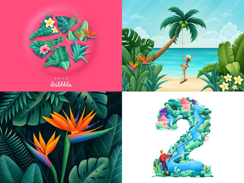 Top4Shots from 2018 dribbble illustrator tropic flowers plants grain flora tropical nature leaves illustration