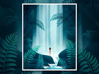 Waterfall Mood procreate waterfall people leaves tropic plants flora nature illustration