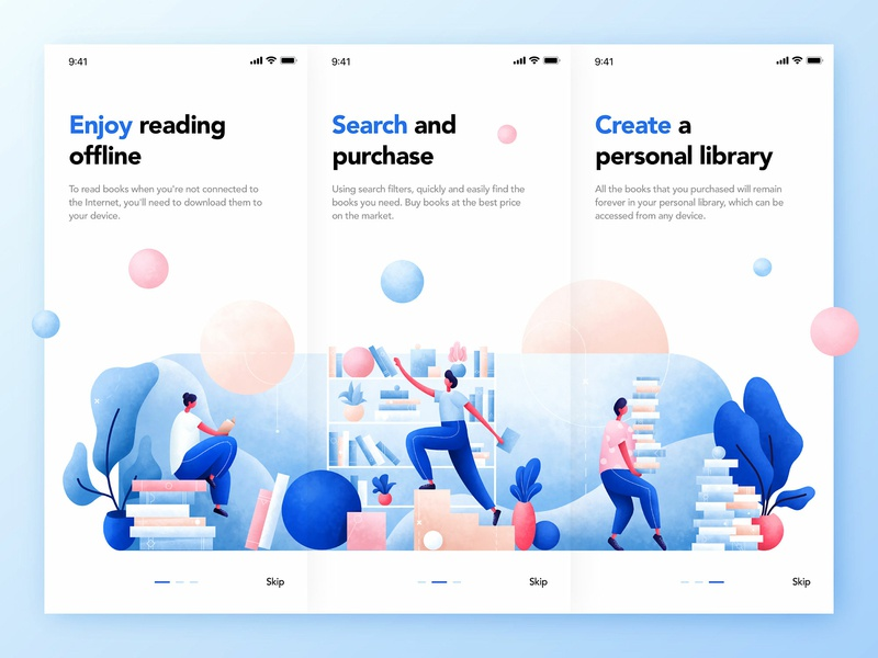 Books App Onboarding onboarding screen onboarding uidesign ux  ui book  app library art character read app book ui people plants design illustration
