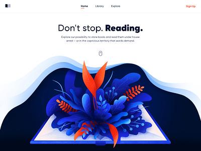 Online Library read art store library book web ui flora design leaves plants illustrator illustration