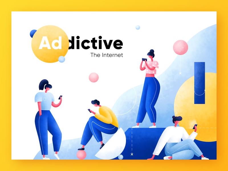 The Internet Addictive web procreate characters phone addiction internet trend art character ux geometic typography ui logo people design illustrator illustration