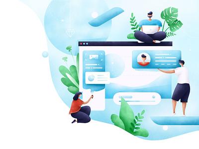 Web design illustration product design web ui character grain illustrator art people plants design illustration
