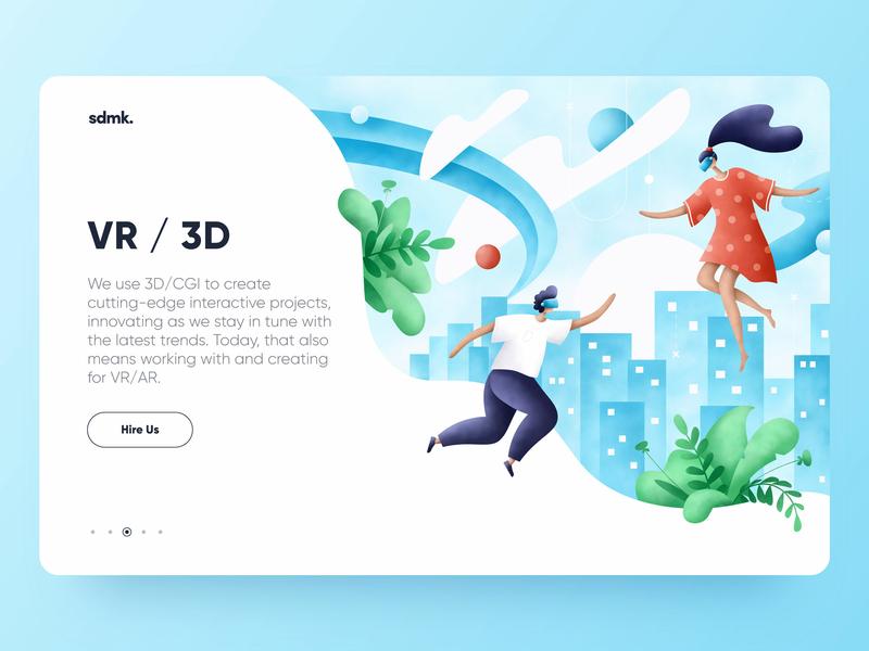 VR illustration city 3d vr graphic web procreate ui grain plants character art flora people design illustrator illustration
