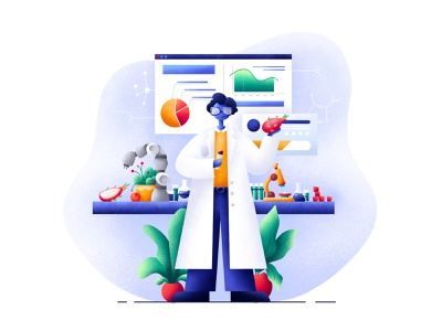 Scientist Journey Foods microscope chemistry fruit web laboratory scientist procreate plants design character grain art people illustrator illustration