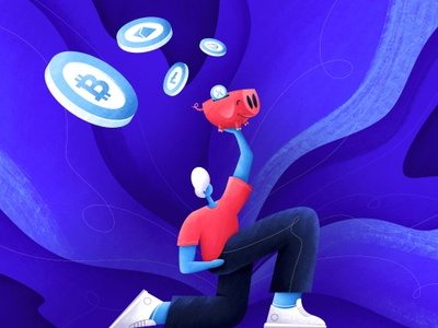 Crypto piggy bank texture background cryptocurrency coin bitcoin money piggy bank abstract ui procreate character art people illustrator illustration