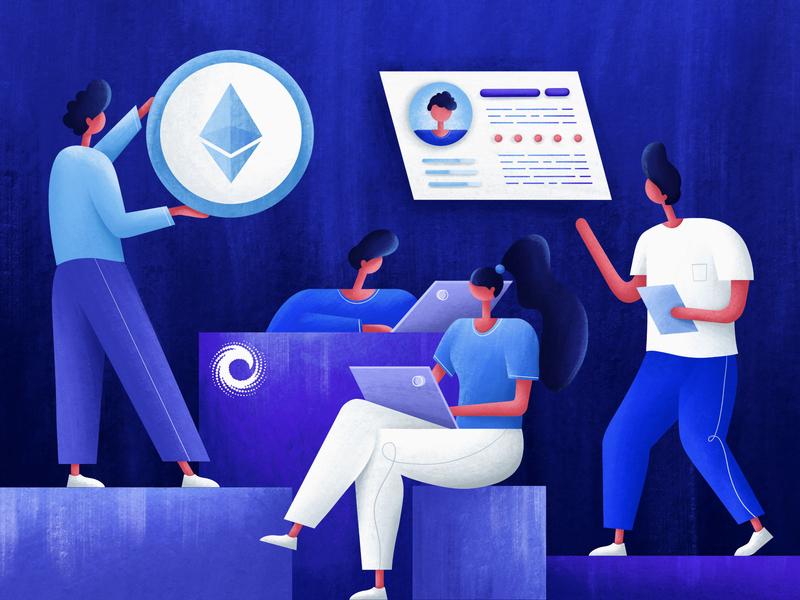 Decrypt company business texture bitcoin coin branding ui procreate character art people design illustrator illustration