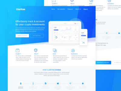 Claritas Blockchain Startup webdesign blue simple site design web blockchain crypto