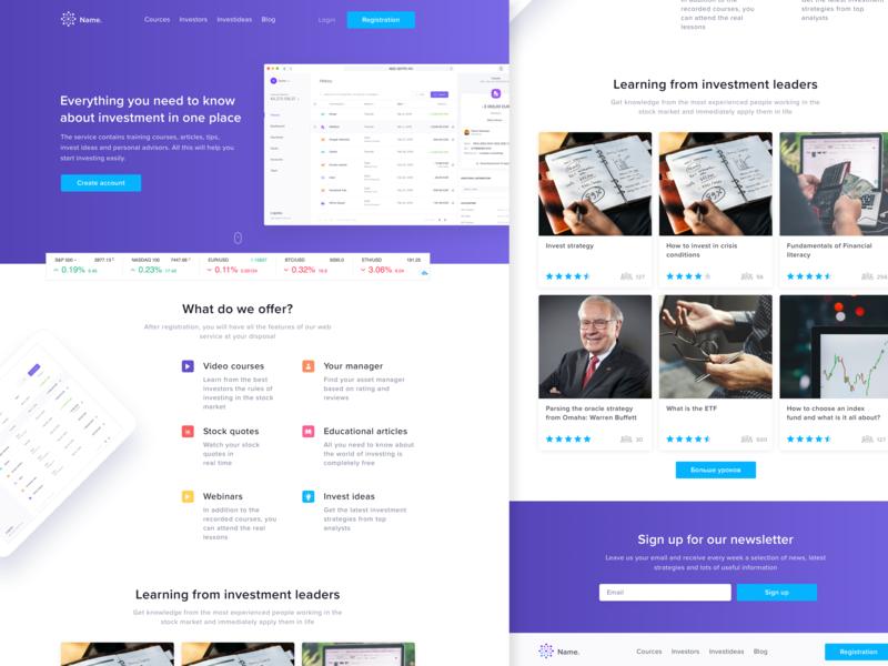 Investing | Web Design webdesign site web soft blue ux ui design