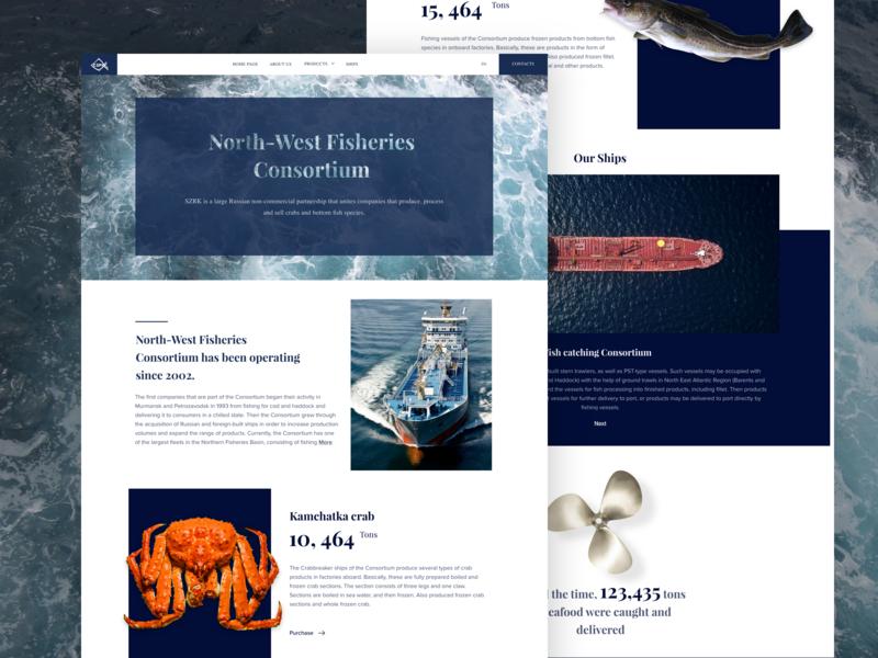 North-West Fisheries  Consortium | Web design crab ship sea fish webdesign simple blue ui design