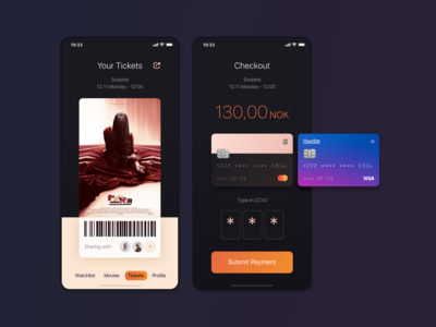 CinemaApp Payment & Tickets View