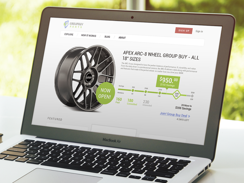 Product page wheels product rim callout layout progress bar price shopping cars