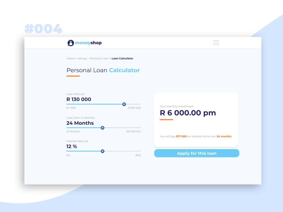 calculator personal loan loans dribbble dailyui