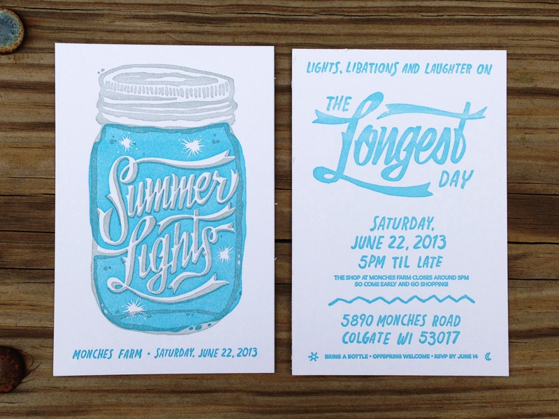 Summer Lights - Letterpress Invitations letterpress invitations invite paper summer lights typography lettering illustration hand made wisconsin barn farm design