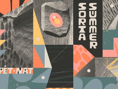 Sorta Summer 2020 branding drawing type typography webdesign wood collage lettering web design wine label