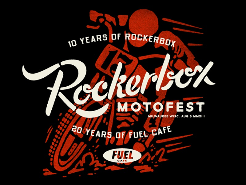 Rockerbox - Double Anniversary Shirt rockerbox illustration typography lettering script stencil vintage motorcycle racing drawing