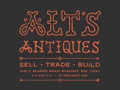 Alt's Antiques - Utility Pocket T-Shirt Back alts antiques shirt lettering branding logo layout crest badge circle insignia