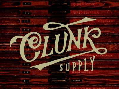 Clunk Supply clunk supply letterpress logo branding script text vintage design classic swash