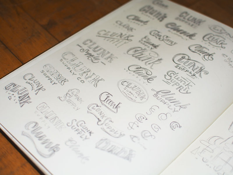 Clunk Supply Sketches sketches clunk supply letterpress logo branding script text vintage design classic swash