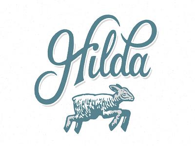 Handmade By Hilda hand made hilda quilt logo illustration lettering script brush shadow glyph drawing