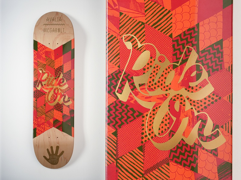 "Avalia X Megabolt ""Ride On"" Deck megabolt avalia deck ride on skateboard metallic print collab kids illustrate type"