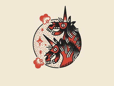 Permanent Records black red tattoo rock aesop illustration drawing unicorn records permanent