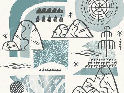 Leeward Surf & Sea rain rocks ocean vibes pattern draw coast illustration surf