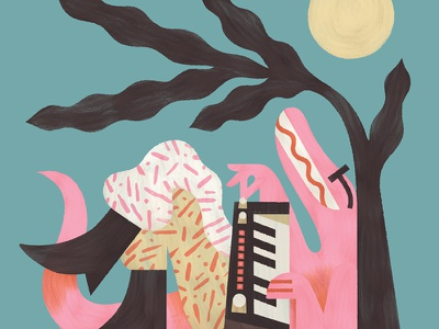 LIVE LO•FI synth character design paint drawing illustration sticker