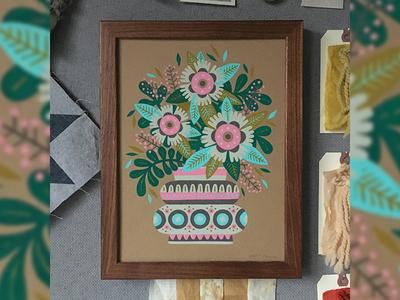 For Mom <3 pot planter mom flowers folk gouache illustration painting