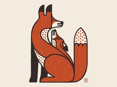 Papa and his pup. primitive folk conte painting fox animals illustration