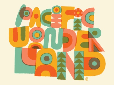 Pacific Wonderland doodle primitive paint weird cut paper illustration type lettering