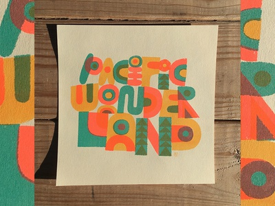 Pacific Wonderland Risograph mountains field guide oregon trees type nature illustration