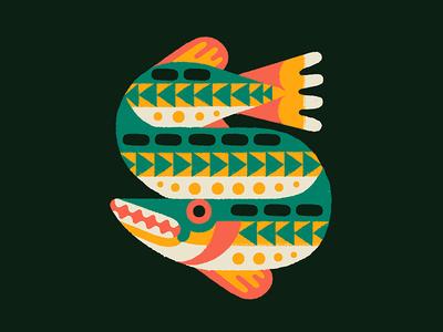 Northern Pike doodle art animal doodle drawing design illustration