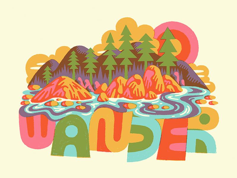 Wander nature illustration nature art drawing design typography lettering illustration